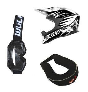 Childrens-Wulfsport-MX-Quad-Cub-Helmet-Goggles-amp-Neck-Brace-Black-22