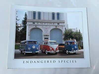 vintage volkswagen vw bus endangered species poster richard stockton 1980s ebay ebay