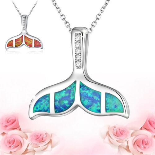 Cristal opale sirène baleine poisson queue pendentif collier dame bijoux cadeau.