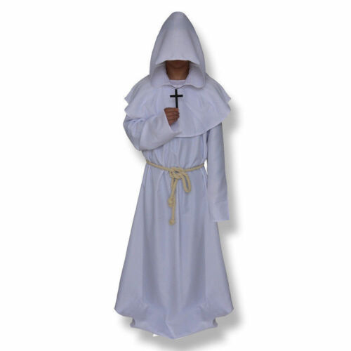 Monk Hooded Robes Cloak Cape Friar Medieval Renaissance Priest Costume Cosplay