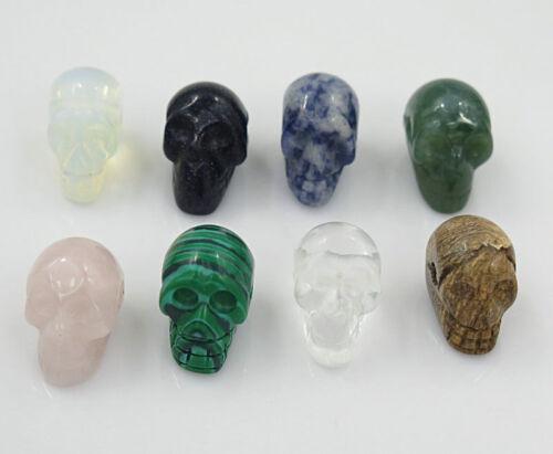 Wholesale Lot 8pcs pierre naturelle Crâne Gemstone Collier Pendentif Pour Femmes