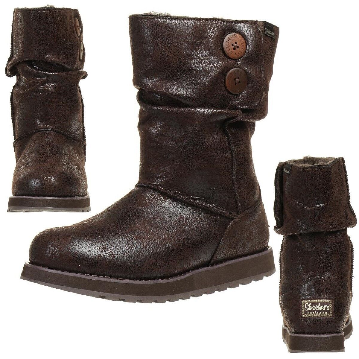 Skechers Keepsakes Leather Esque Boots Women's Winter shoes Padded Choc