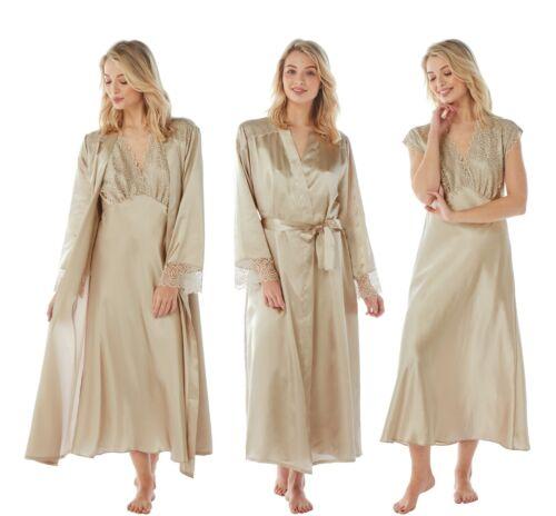 Damen Gold Lange Satin Chemise Nachthemd Bademantel Kimono Wickeln