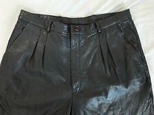 Saxony Gray Genuine Leather Pleated Pants Size 34x30