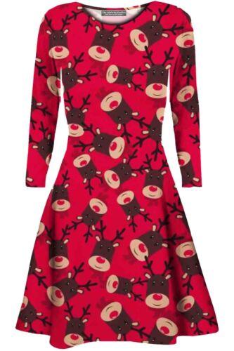 Womens Christmas Mini Swing Dress Plus Size Ladies Xmas Party Long Tops T-Shirt