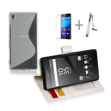 WHITE Wallet 4in1 Accessory Bundle Kit S TPU Case Cover F Sony Xperia Z5 Compact