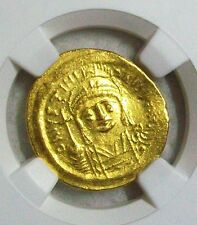 AD 527-565 BYZANTINE EMPIRE JUSTINIAN I THE GREAT GOLD AV SOLIDUS NGC AU