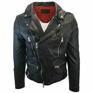 All Saints Men's Black Mazo Biker Leather Jacket (Retail $585)