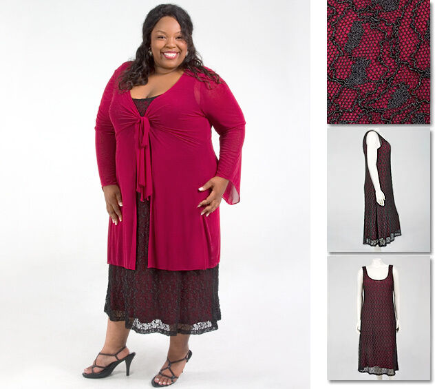 NEW Zaftique 2 pc LONG ONYX LACE Dress GARNET Red 0Z 1Z 14 16 L XL 1X 2X 3X 4X