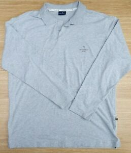 "TRUSSARDI Sport Mens Light Grey Marl Long Sleeve Cotton Polo Top XL 44"" Chest"