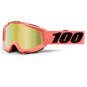 100% ACCURI GOGGLES PINK ROGEN MIRROR GOLD & CLEAR LENS MOTOCROSS MX CHEAP NEW