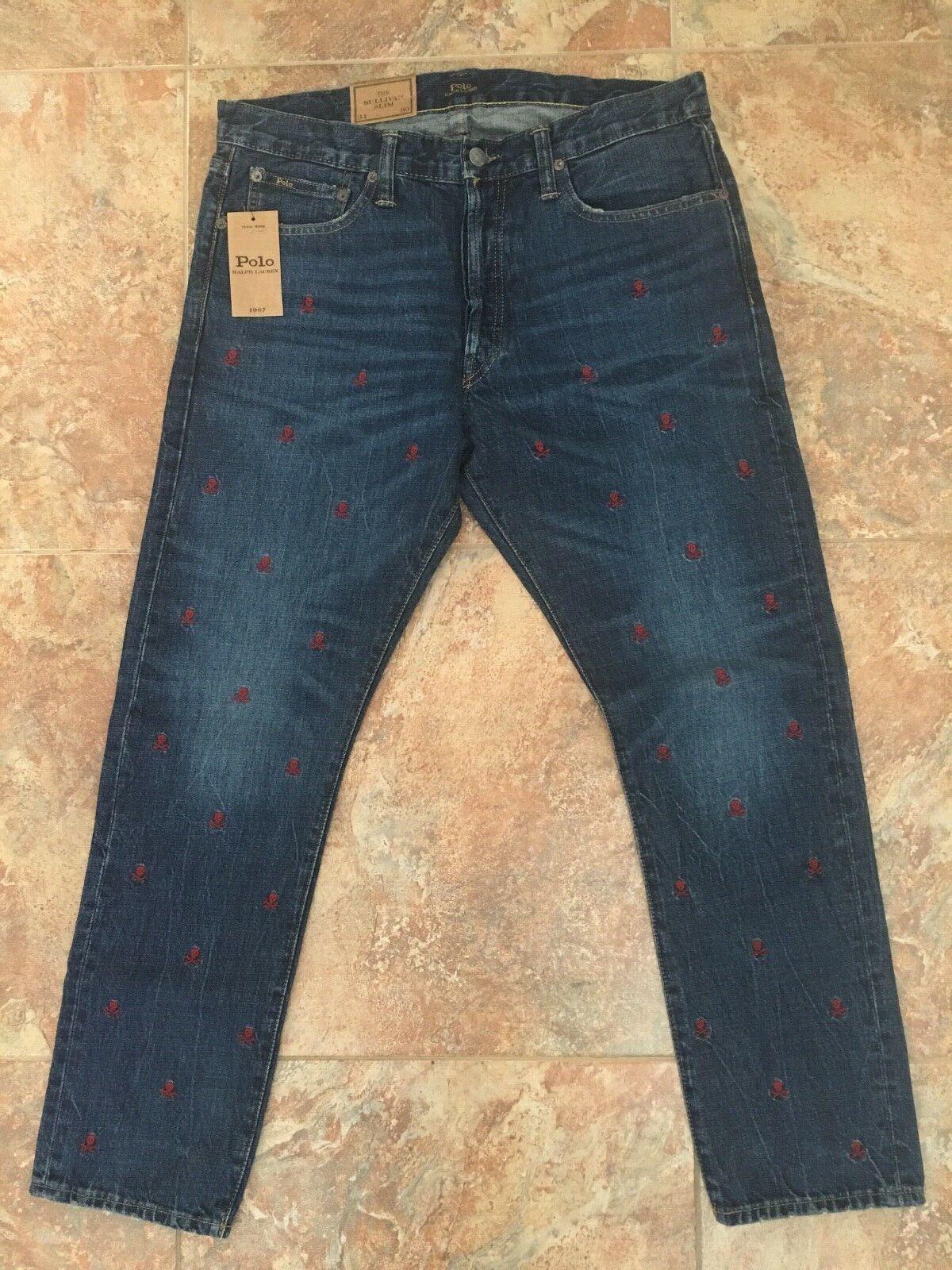 Polo Ralph Lauren Sullivan Slim Embroider Skeleton Mens bluee Jeans Pants 34 x 30