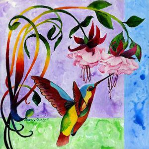 HUMMINGBIRD-1-Original-12x12-Acrylic-Bird-Painting-by-Sherry-Shipley