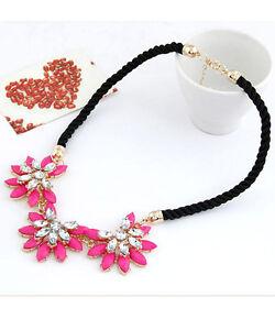 Halskette-Nr-3-Kette-PINK-Gold-Blumen-Zirkonia-Party-Collier-Damen-Schmuck