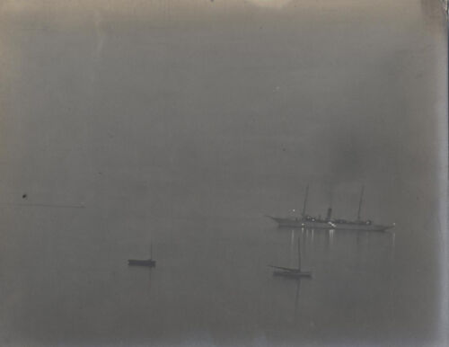 ORIGINAL 8X10 PHOTOGRAPH OF SHIP SMALL FISHER BOATS ON FOGGY WATER