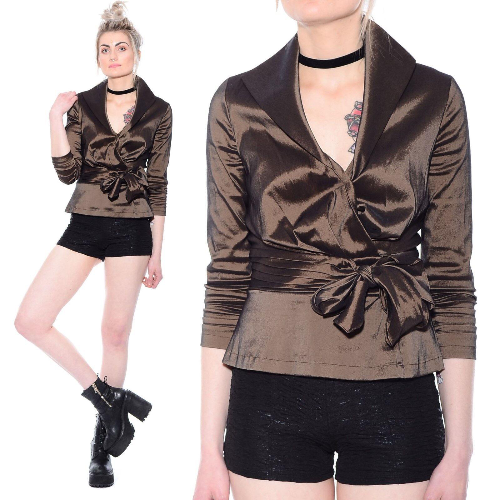 Vtg 90s TADASHI Skinny Fit ORIGAMI Peplum Waist Cocktail Party Dress Jacket Top
