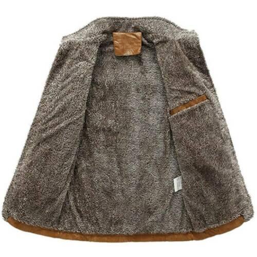 Men Winter PU Leather Fleece Fur Lined Jackets Warm Thicken Trench Coat Overcoat