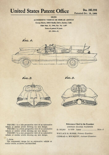 TV Series Vintage Poster Wall Art A4 Patent Print Batmobile Car Batman