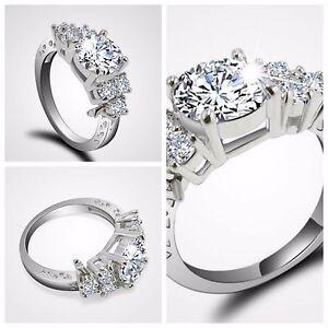 Diamond White Usa >> Usa Diamond White Sapphire Wedding Ring 10kt White Gold Jewelry