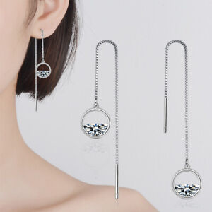 925-Sterling-Silver-Clear-Zircon-Round-Long-Tassel-Thread-Drop-Chain-Earrings