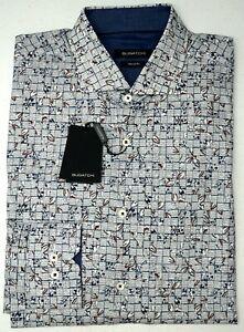 NWT-179-Bugatchi-Long-Sleeve-Shirt-Plaid-Mens-Classic-Fit-Gray-Floral-Cotton