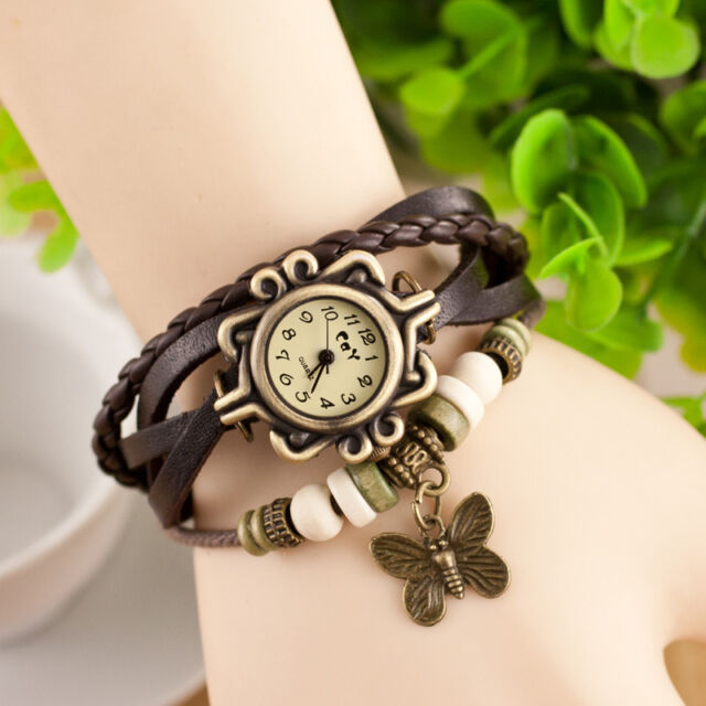 Vintage Retro Butterfly Bracelet Leather Womens Quartz watch Bangle Wristwatch J