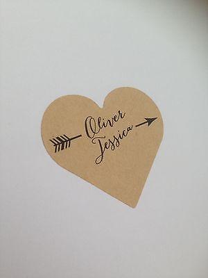24 Etichette Personalizzati Cuore-kraft O Bianco-sticker Vintage Freccia Matrimonio-