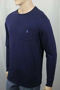 Polo Ralph Lauren Navy Blue Long Sleeve Crewneck Pocket Tee T-Shirt Blue Pony NW