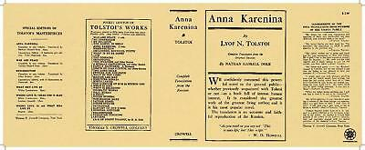 Doeltreffend Facsimile Dust Jacket Only Leo Tolstoy Anna Karenina 1914 Crowell Edition