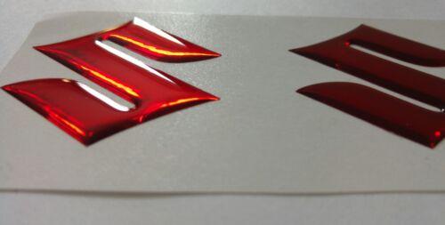 Suzuki Gel abovedado insignia de 3d x2 color rojo par duplicado Cromo ***