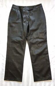 Ladies-size-12-Black-Pleather-Pants-Rockmans