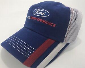 Blue W// White Mesh W// Ford Performance Logo Cap Ford Performance Hat