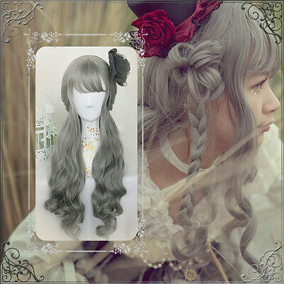 Japanese Lolita Harajuku Sweet Vintage Gray Fairy Princess Cosplay Daily Wig