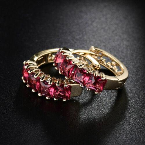 18K Gold and Ruby Red Crystal Hoop 18mm Earrings    296