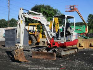 2013 Takeuchi TB235 Mini Excavator Rubber Tracks Cab Backhoe bidadoo