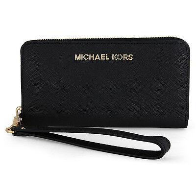 Michael Kors Jet Set Black Leather Multi-Function Phone Case