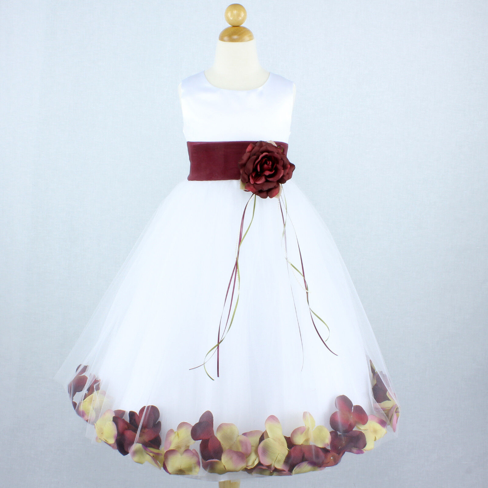 White And Burgundy Pageant Flower Girl Dress Petals Gown Recital