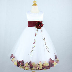 White and burgundy pageant flower girl dress petals gown recital image is loading white and burgundy pageant flower girl dress petals mightylinksfo