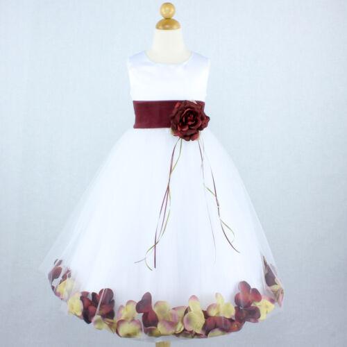 WHITE BURGUNDY Flower Girl Dress Petals Dance Birthday Formal Gown Wedding Party