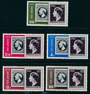 LUXEMBOURG-1952-Mi-490-94-MNH-034-100-years-stamps-034-very-fresh-and-fine