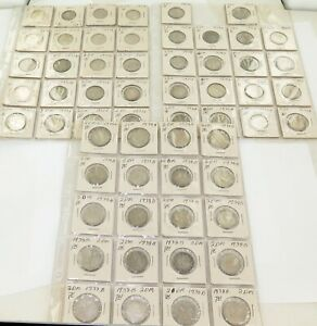 SUPER-RARE-LARGE-JOB-LOT-NICE-GRADE-58-x-1937-1938-1939-GERMAN-SILVER-2-MARKS