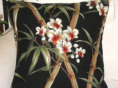 "20"" Tropical Hawaiian 100% Cotton Barkcloth Fabric Pillow SLIPCOVER ~Bamboo-Blk~"