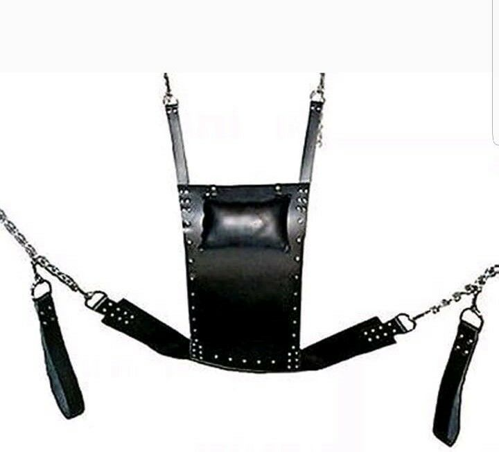 HEAVY DUTY LEATHER SEX SWING SLING with  Ceiling mountablele
