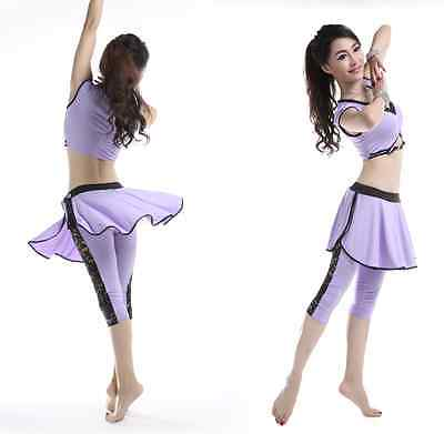 Sporty Blouse+Breeches with Skirt Lovely 2pcs set Belly Dance Costumes MUST HAVE