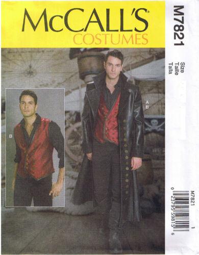 Mens Long Leather Coat Lace Up Back Vest McCalls 7821 Sewing Pattern 38 40 42 44