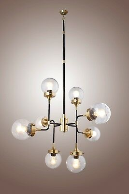 Bistro Globe Clear Gl 8 Light Br Chandelier Restoration Hardware Style 701142402188 Ebay