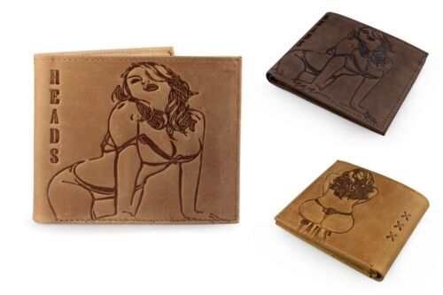 Unique Saucy WW2 Pinup Girl Embossed Distressed Leather Wallet