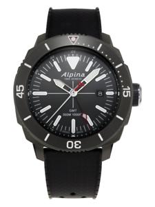 Alpina-Seastrong-Men-039-s-AL-247LGG4TV6-Quartz-GMT-Black-Rubber-Strap-44mm-Watch