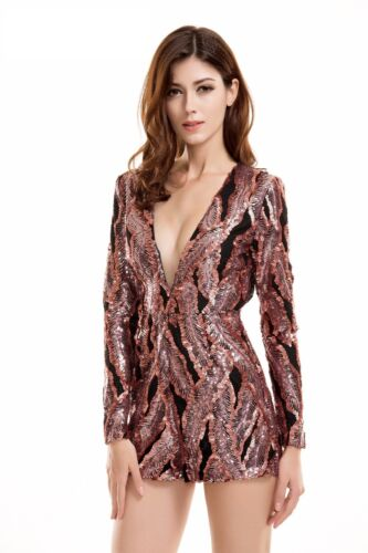 Sequin Romper Play Suit Open Back Plunge Long Sleeves XS S M L 2016 Party Dress