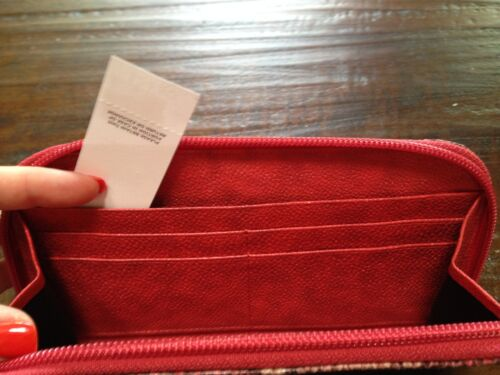 $24.50 NWT ANN TAYLOR LOFT SNAKE PRINT WALLET RED PETAL COIN POUCH NICE GIFT